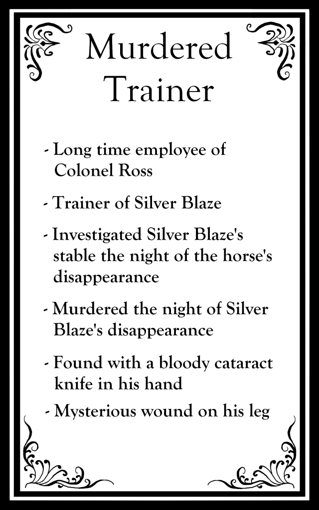 "The top says ""Murdered Trainer"" followed by bullet points about the character."