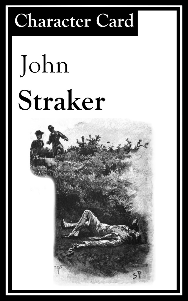 "The title is ""John Straker.""  There is an image of two people finding a man lying on the ground."
