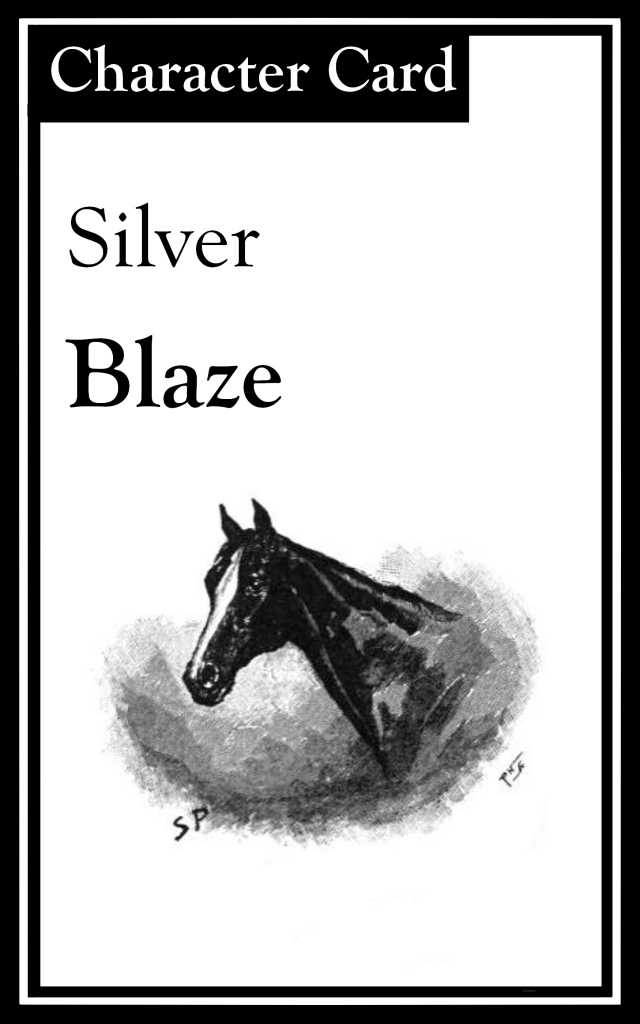 "The title is ""Silver Blaze.""  There is an image of a horse."