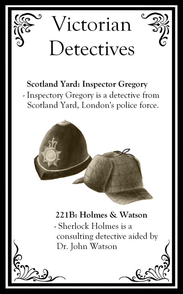 "The top says ""Victorian Detectives"" followed by descriptions of Scotland Yard and Holmes and Watson. There are images of a police helmet and a deerstalker hat."