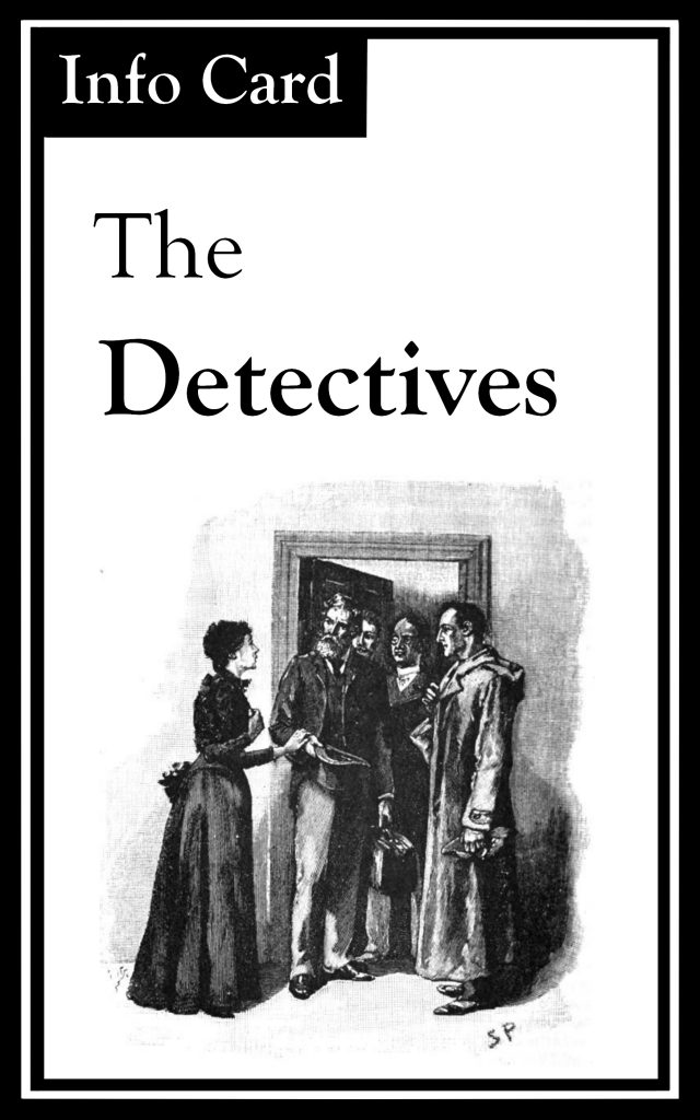 "The title is ""The Detectives.""  There is an image of a woman and four men standing in a doorway."