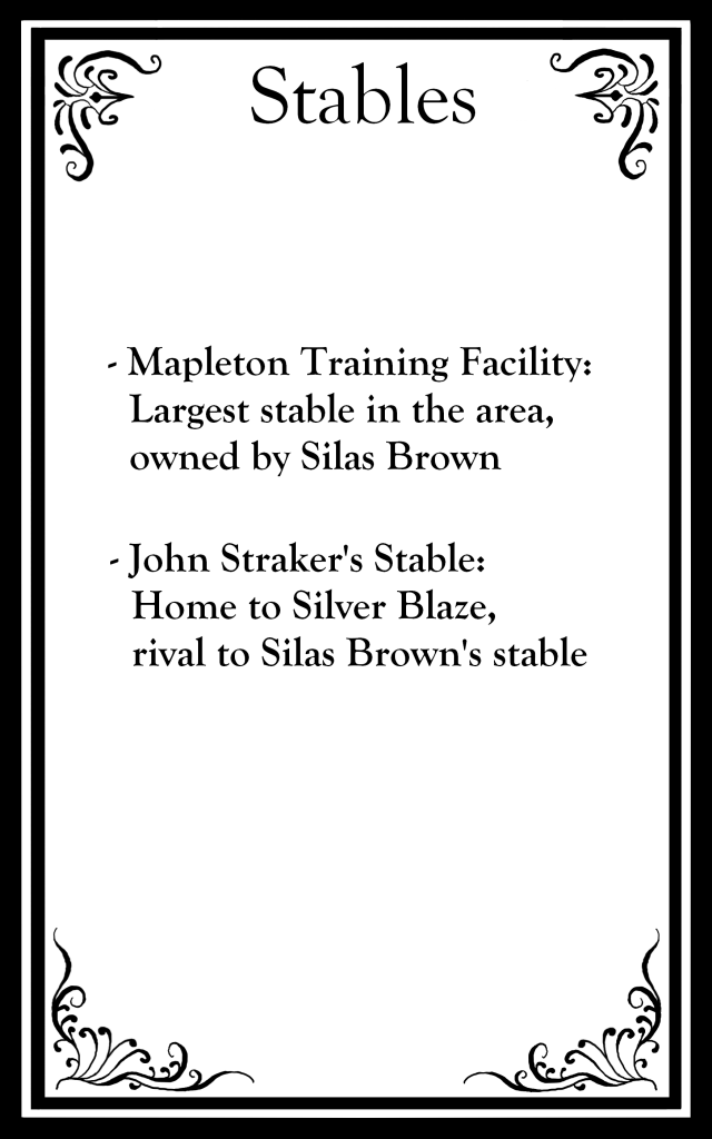 "The top says ""Stables"" followed by bullet points about location."