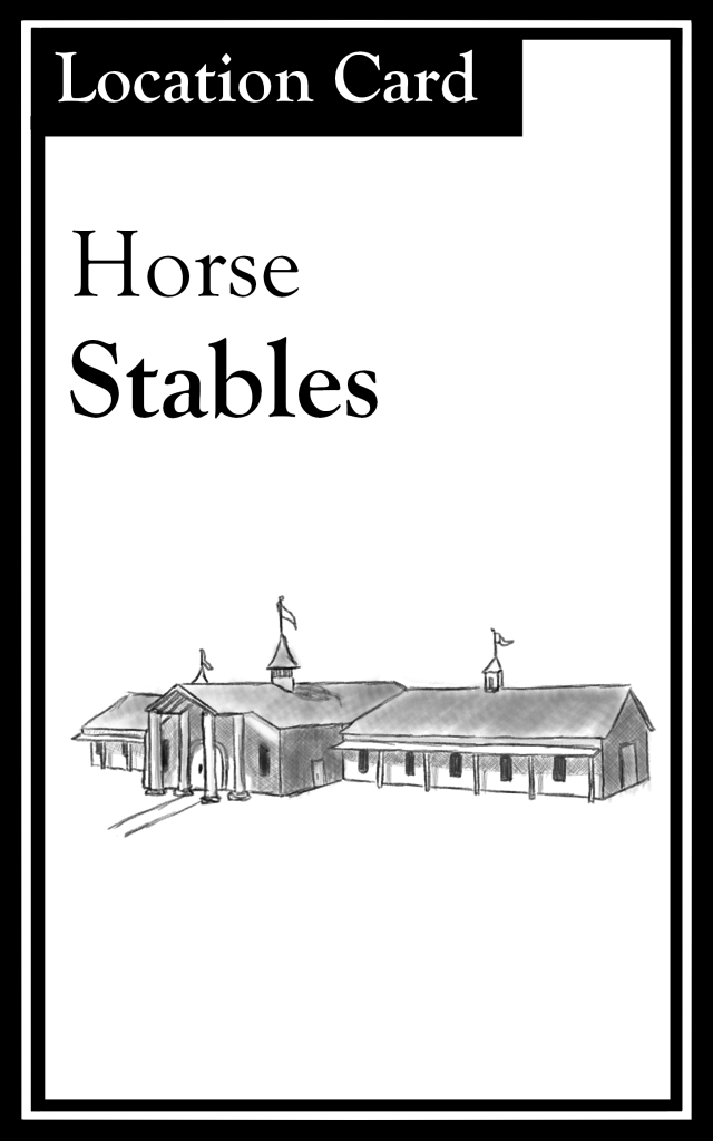 "The title is ""Horse Stables.""  There is an image of a horse stable."