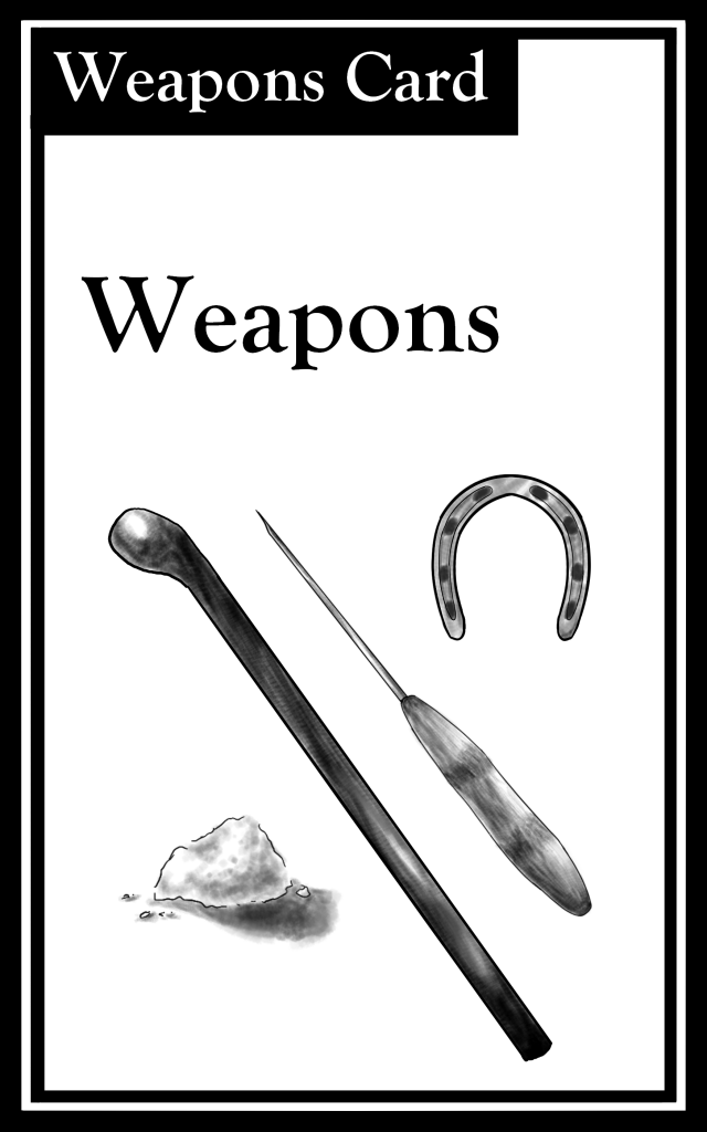 "The title is ""Weapons.""  There are images of various weapons."